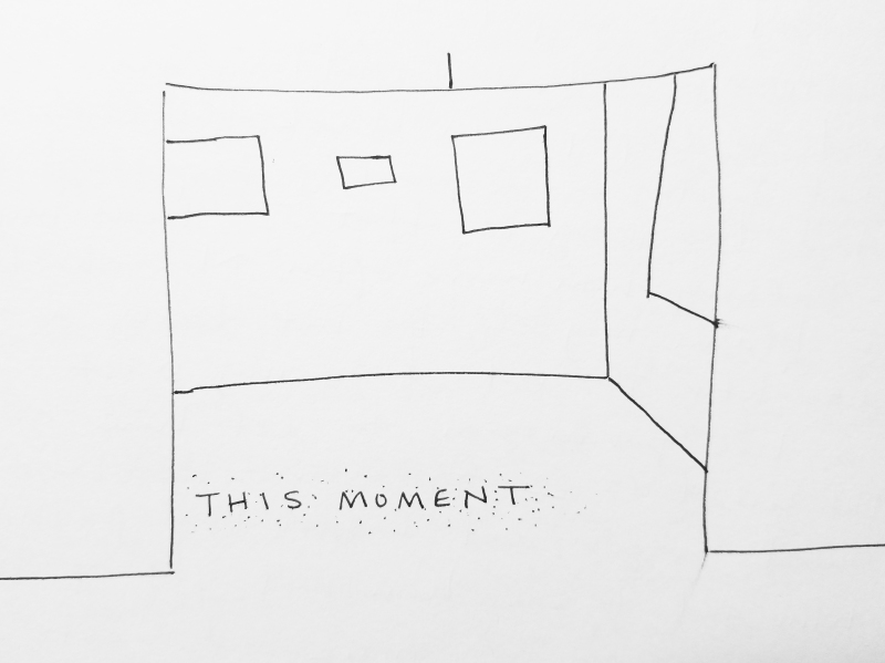 "Proposal for Installation Piece--glitter text reading ""This Moment"" meant to be walked upon and erased during the course of the exhibition."